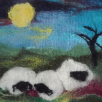 Hand Felted Fibre Art of Sheep in A Field under the Moonlight