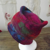 Colourful hand felted hat made using merino wool
