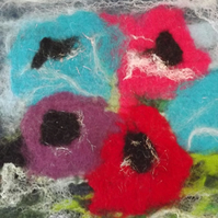 Hand Felted Picture of Flowers