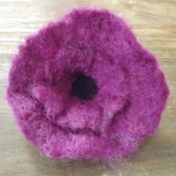 Needle Felted Purple Flower Brooch - comes boxed