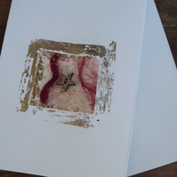 Hand Crafted, Blank Greetings Card with star and handmade paper