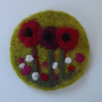 Pretty Needle Felted Brooch of Poppies in a field of flowers- Made to Order