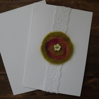 Hand felted and lace, blank greetings card
