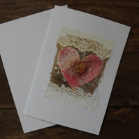 Pretty hand made greetings card with heart, button, lace and foiling