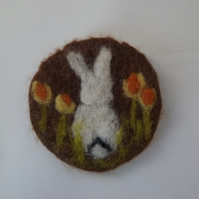 Little White Easter Bunny Brooch - Made to Order