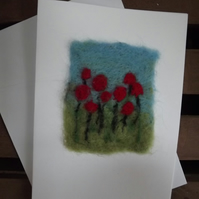 Pretty blank, art card with needle felted red poppies.