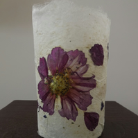 Hand made silk paper tea light holder with mulberry silk and natural petals