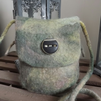 Gorgeous little pouch bag, purse, hand felted with vintage button.