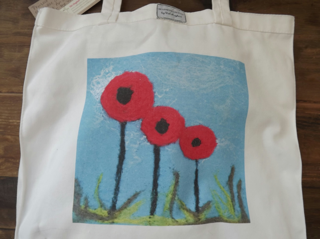 Quality Cotton Canvas Tote Bag with Printed, Original Felted Design - SALE ITEM