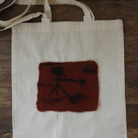 Cotton Tote Bag with original felted picture inspired by Cave Art - SALE ITEM
