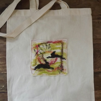 Cotton Tote Bag with original hand felted picture, block printed with hares.
