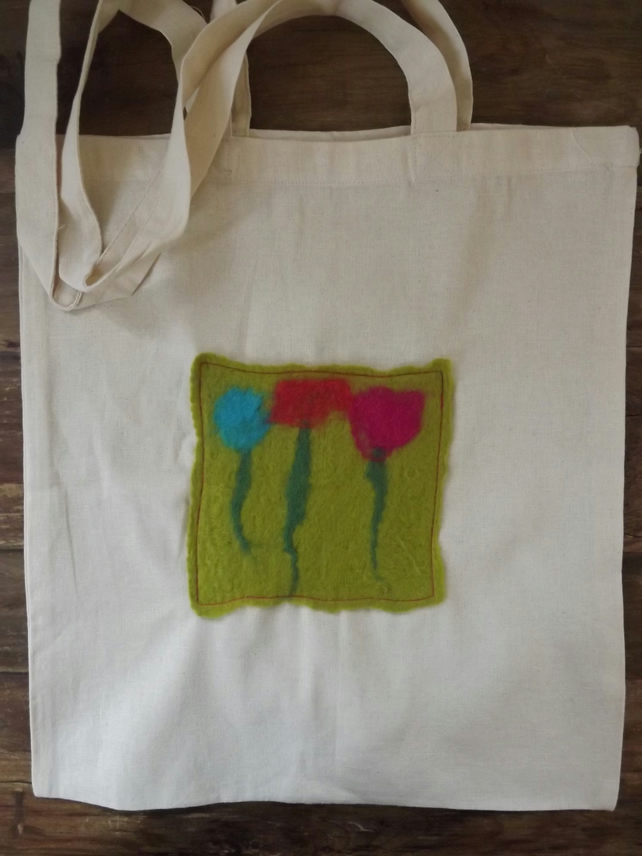 Cotton Tote Bag with original hand felted picture inspired by poppies SALE ITEM