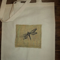 Cotton Tote Bag with original hand felted picture with screen printed Dragonfly