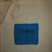 Cotton Tote Bag with original hand felted picture and printed Dragonfly