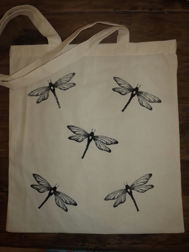 Screen printed, natural cotton tote bag - Dragonflies