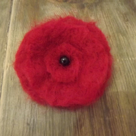 Needle felted red poppy flower brooch with black bead - Made to Order