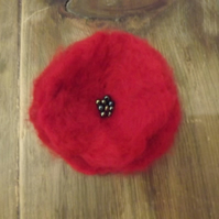 Large Needle Felted Poppy Brooch with Green Blue Seed Beads