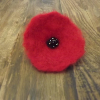 Pretty red poppy flower brooch with beading.