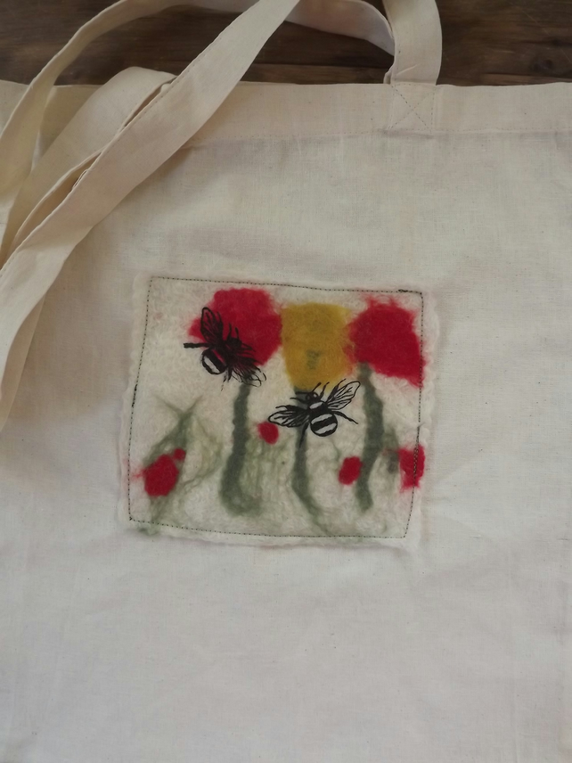 Cotton Tote Bag with original hand felted picture inspired by poppies and bees.