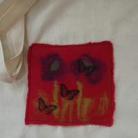 Cotton Tote Bag with original hand felted picture with poppies and butterflies.