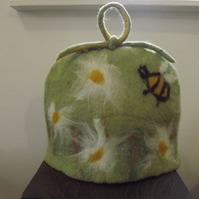 Pretty hand felted tea cosy with flowers and bee - Made to Order