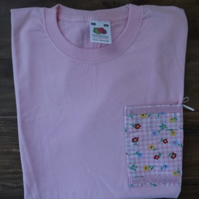 Pack of two, pretty girls T-shirts, pink with vintage fabric pocket. Size 140 cm