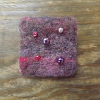 Needle Felted Brooch with Beading - 'Evening Sea'