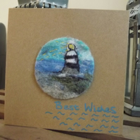 Needle Felted, Blank Card, with lighthouse design