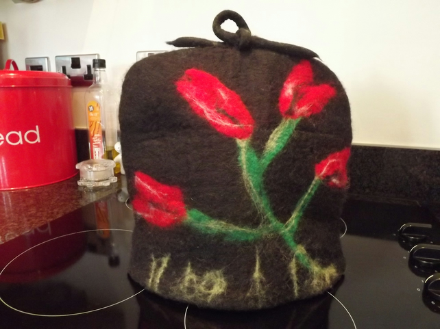 Large, Hand Felted, Natural Wool Tea Cosy with Tulip Design - Made to Order