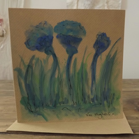 Original hand painted watercolour greetings card with envelope