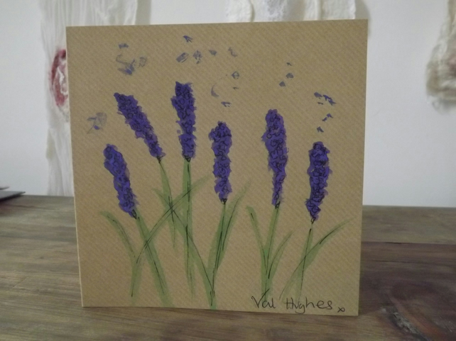 Original hand painted watercolour greetings card with envelope - Lavender