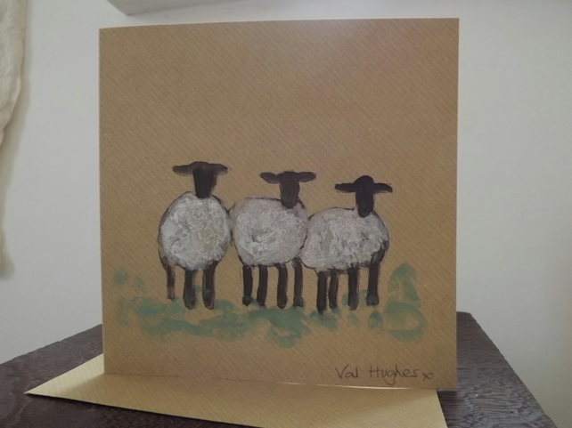 Original hand painted watercolour greetings card with envelope - Sheep