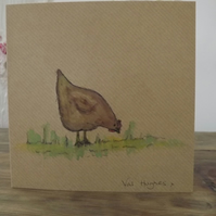 Original hand painted watercolour greetings card with envelope - Hen