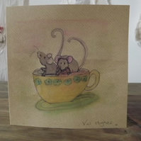 Original hand painted watercolour greetings card with envelope - Mice
