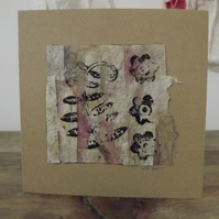 Pretty hand made greetings card created from handmade paper and block printed