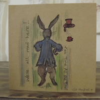 Original watercolour card inspired by the tales of Alice in Wonderland.