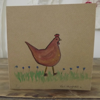 Original hand painted watercolour greetings card with envelope, art work - Hen