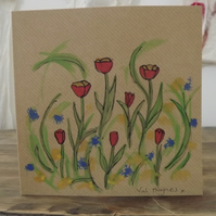 Original hand painted watercolour greetings card with envelope - Poppies