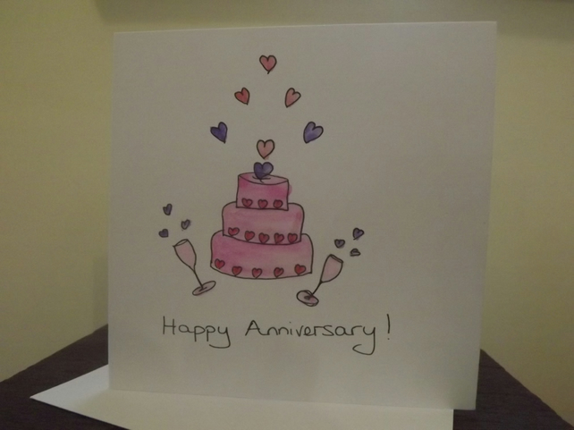 Original hand painted watercolour and ink, Anniversary card also Personalised