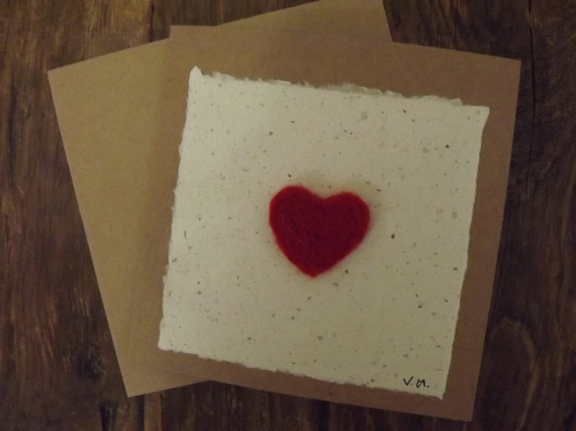Valentine Heart Greetings Card - Needle Felted and left Blank