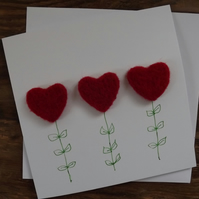 Handmade greetings card with Needle Felted Red Love Hearts - can be personalised