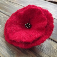 Extra Large Needle Felted Poppy Brooch with beading - available in other colours