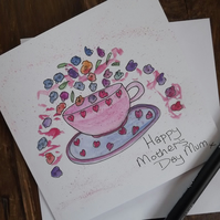 Mothers Day - Original hand painted, art work, watercolour greetings card