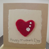 Needle felted Mother's Day Card with beading and embroidered daisy.