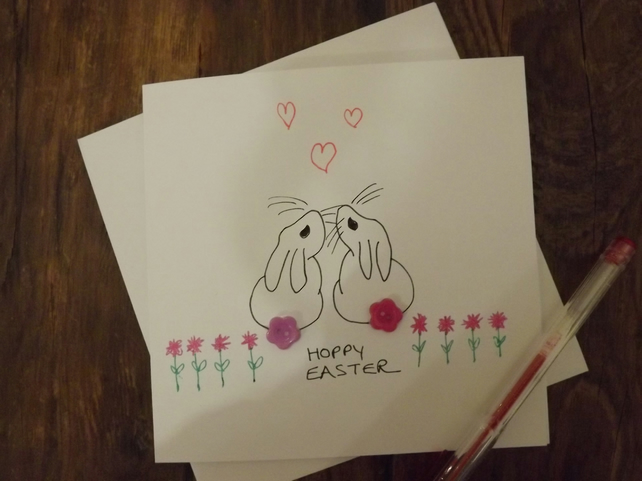Pretty hand made greetings card - Easter Bunnies