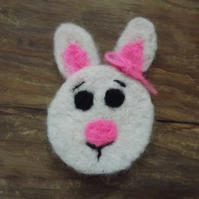 Easter Bunny brooch, needle felted using natural wool