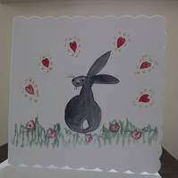 Bunny Rabbit Greetings Card - watercolour - ideal for framing