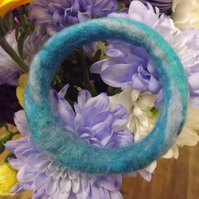 Felted Bangle in lovely shades of blue  - Size Small