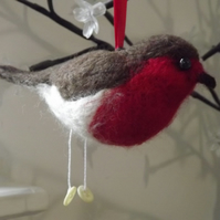 Needle Felted Robin with bead eyes - Made to Order