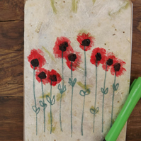 Original handmade paper and hand painted A6 Notebook - Poppies
